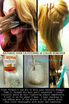 DIY At Home - HAIR LIGHTENING *** Lighten Hair Naturally with VITAMIN C and SHAMPOO Mixture. Results shown are on color treated hair. *it says this will remove hair dye color.in case I ever dye my hair again and don't like it lol Lighten Hair Naturally, How To Lighten Hair, Lighten Hair With Honey, How To Dye Hair At Home, Lightening Dark Hair, Diy Masque, Pelo Natural, Tips Belleza, Natural Treatments