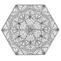 This FREE mandala coloring page for adults features a hexagon design complete with florals and swirls in the center. #FaveCrafter #coloring #adultcoloring #mandalas