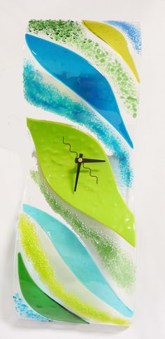 Fused Glass Clock by Stacy Owen. www.coppermstudio.com