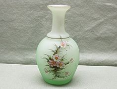 Very Old Cased Art Glass Vase Handpainted Flowers by COBAYLEY,