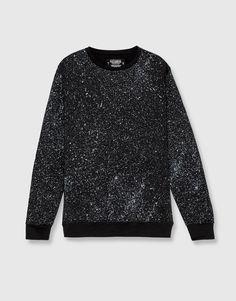 Pull&Bear - hombre - ropa - sudaderas - sudadera estampado gotas - negro - 09590538-I2016