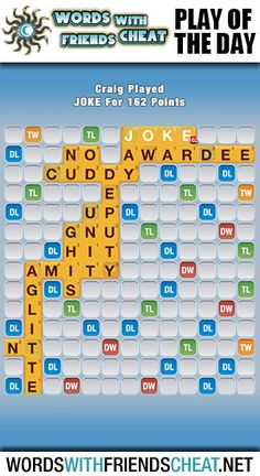 This is no JOKE! Today's POD wide mouthed and amazed. See for yourself: http://www.wordswithfriendscheat.net/play-of-the-day/play-of-the-day-joke-162-points/ #wordswithfriends #playoftheday #pod