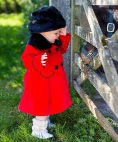 Take a look at this Red Coat, Hand Muff & Hat Set by Couche Tot on #zulily today!