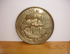 1950s Vintage Brass Wall Plaque Vintage Brass Tall Ship Sailing Ship by FillyGumbo