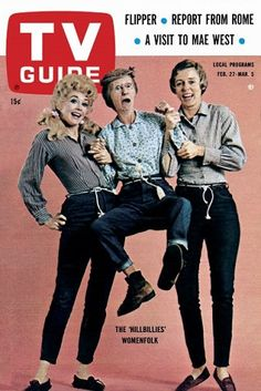 TV Guide February 1965 - Donna Douglas, Irene Ryan and Nancy Kulp, of The Beverly Hillbillies History Of Television, Vintage Television, Old Tv Shows, Movies And Tv Shows, Radios, Donna Douglas, The Beverly Hillbillies, 60s Tv, Nostalgia