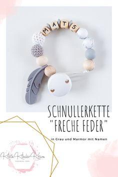 Schnullerkette GEO in Senfgelb und Grau mit Silikon und H/äkelperlen