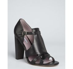 Charles David black leather 'Grayden' stacked heel sandals
