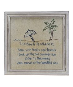 The Beach Is Where' Stitchery Framed Wall Art