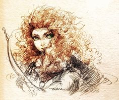 """Princess Merida from """"Brave"""" Pixar, Disney. Today I've received a birthday gift """"Brave"""" dvd and decided to watch it today. It's awesome and I love every. Sketch of Brave Disney Fan Art, Disney Love, Disney Magic, Disney And Dreamworks, Disney Pixar, Princesas Disney, Animation Film, Disney Inspired, Just In Case"""