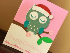 Merry Christmas owl handmade greeting card by AnLieDesigns on Etsy, $2.00