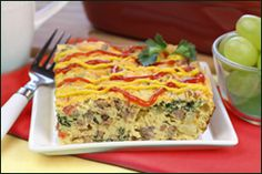 Low-Fat Egg Bake Breakfast Recipes | Hungry Girl  Bacon Cheeseburger Egg Bake  1/4th of egg bake: 248 calories, 6g fat, 888mg sodium, 9g carbs, 1g fiber, 4.5g sugars, 35g protein -- PointsPlus® value 6*  When you wake up CRAVING a cheeseburger but NEEDING a smart breakfast, this recipe is here to save the day!