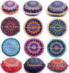 "Indian Mandala Cushion Cover 16"" Round Pillow Cover Ethnic Throw Pillow Case #Handmade #ArtDecoStyle"