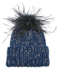 Eugenia Kim Rain Knit Beanie Hat w/ Feather Pompom Mens Beanie Hats, Knit Beanie Hat, Winter Knit Hats, Hats Online, Ostrich Feathers, Eugenia Kim, Knitted Hats, Knitting, Rain