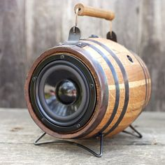 Mini Barrel BoomCase. Vintage barrel turned into the perfect portable and home sound system. Compact and lightweight providing amazing sound indoor and out.