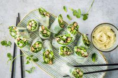 Rouleaux d'été aux asperges - Recette | fooby.ch Mayonnaise, Fresh Rolls, Sandwiches, Wraps, Favorite Recipes, Vegan, Ethnic Recipes, Picnics, Vegetarian