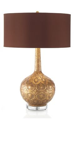 Table Lamps, Luxury Designer Gold Indian Floral Embossed Lamp, so beautiful, one of over 3,000 limited production interior design inspirations inc, furniture, lighting, mirrors, tabletop accents and gift ideas to enjoy repin and share at InStyle Decor Beverly Hills Hollywood Luxury Home Decor enjoy & happy pinning