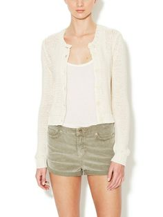 Cotton Open Knit Cardigan by Inhabit at Gilt