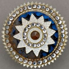 Antique mother of pearl button, with inset gems, enamelling, 18th century