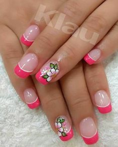 Francesa Pedicure Designs, Cool Nail Designs, Cute Nails, Pretty Nails, Hawaiian Nails, French Manicure Nails, French Nail Art, Nails Only, Flower Nail Art