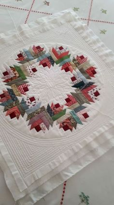Floral wreath quilt quilting pattern from mh designs new – Artofit This striking Scandinavian themed patchwork table runner in red, grey and white would bring a subtle splash of Christmas to your dining room table, kitchen tab Create a lovely 14 square Mini Quilts, Easy Quilts, Small Quilts, Log Cabin Quilts, Log Cabin Quilt Pattern, Log Cabins, Log Cabin Patchwork, Colchas Quilt, Quilt Border
