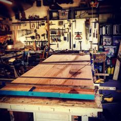 This huge oak table dominating my workshop all glued and...