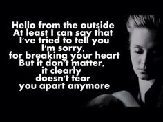 ADELE - Hello - Lyrics I'm freaking obsessed with this song it's already memorized by heart it's amazing❤️