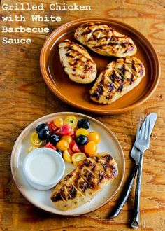 Recipe for Grilled Chicken with White Barbecue Sauce (and Ten More Tasty Ideas for Grilled Chicken) [from KalynsKitchen.com] #Grilling #LowCarb #Barbecue