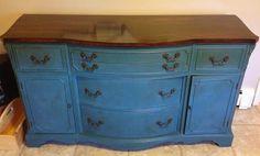 Annie Sloan Chalk Paint- Aubusson Blue sideboard  ASCP LOVE