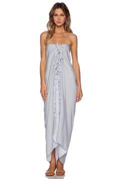 Frankie's Bikinis Striped Pareo in Hampton- great idea to wear a pareo like this