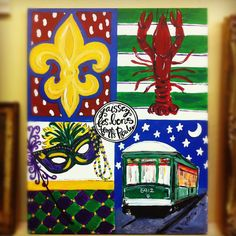 New Orleans Louisiana colorful folk art by TealouAndSweetpea, $178.00