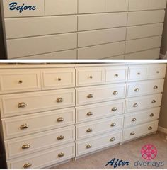 Why haven't I done this?! Overlays on a cheap dresser makes for a fine update!