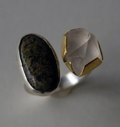 Regine Schwarzer  Ring: Carrickalinga  Beach pebble, Mt Loftry quartz, silver