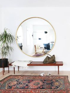 Novel Small Living Room Design and Decor Ideas that Aren't Cramped - Di Home Design Living Room Mirrors, Living Room Decor, Living Rooms, Bedroom Decor, Small Living, Home And Living, Large Round Mirror, Round Mirrors, Oversized Round Mirror
