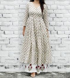 Off White Cotton Printed Tunic & Palazzo Set