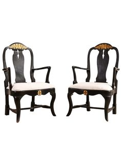 Pair of Swedish Baroque Style Ebonized Armchairs | The HighBoy | www.thehighboy.com
