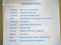 The importance of having a schedule for your kids this summer, and a basic outline