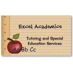 Teacher or Substitute Business Card - Applelicious - Tutor Card ...