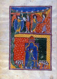 Juan recibe el libro y la varilla y mide el templo. Beato de Liébana, Comentarios del Apocalipsis. España 1220 Comprado por Pierpont Morgan, 1910 MS M.429 (fols. 95v-96)