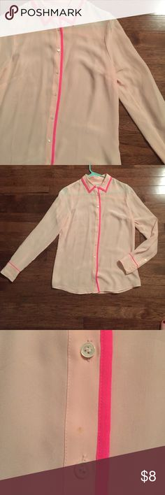 J. Crew Baby Pink Silk Blouse - 2 For when you feel like wearing chic PJs to work. 💤 Cute pink sz 2 100% silk top with dark pink piping. NOT in perfect condition but still fashionably wearable - has a small stain (shown), small pulls on the sleeve and some stubborn silk wrinkling. I am too clumsy and messy to wear anything silk...was only worn a couple of times. J. Crew Tops Button Down Shirts