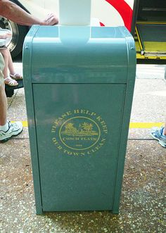 "This Conch Flats trash can pays tribute to the founding date of the Old Key West Resort by denoting ""1991"" in the logo."