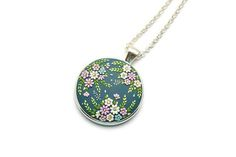 Boho jewelry Boho necklace Embroidery pendant Romantic gift Gift for bride Flower necklace Floral Pendant Gift for her Gift for women