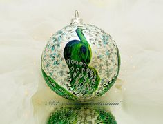 CHRISTMAS ORNAMENT Peacock by Bettineum on Etsy