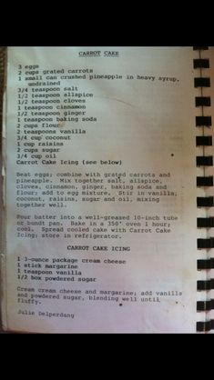 Carrot Cake Recipe Retro Recipes, Grandma's Recipes, Vintage Recipes, Baking Recipes, Dessert Recipes, Cake Icing, Cupcake Frosting, Cupcake Cakes, Golden Corral Carrot Cake Recipe
