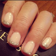 nude nails with glitter tips