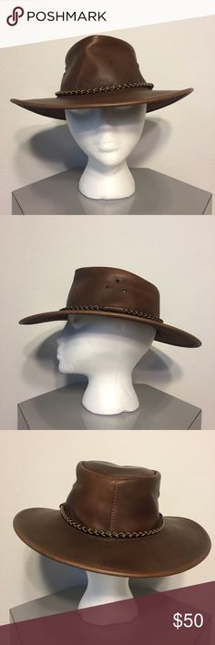 Women's Leather Aussie Bush Hat - Never Worn Women's Leather Aussie Bush Hat - 100% genuine leather. Made in Australia. Braided leather band. Never worn, but a few marks from storage and transport. Marks should fade and blend in as hat is worn in. Feel free to make me an offer. Kakadu Traders Accessories Hats