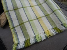 Hand woven dish towel with fringe, 100% cotton, kitchen towel, tea towel, dish cloth, green, olive, blue and yellow