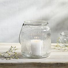 The White Company Large Ribbed Hanging Lantern, Size One Size - White Hanging Candle Lanterns, Lantern Candle Holders, How To Make Lanterns, Nordstrom Beauty, The White Company, Old Stone, Mason Jar Lamp, Burning Candle