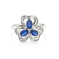 Deep Blue  18K White Gold Ring  Gold: 2.70 gms Diamonds: 0.20 cts Blue Sapphire: 0.74 cts