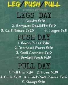 How We Nerd: Weight Training Pinnable: Legs, Push, Pull days.