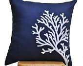 Coral Reef Throw Pillow Cover,  Navy Decorative Pillow Cover, White Coral on Navy Blue Linen Pillow, Pillow Case 18 x 18, Navy Cushion Cover. $23.00, via Etsy.